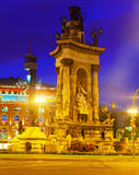 Fontain on Spain square at Barcelona Royalty Free Stock Photography