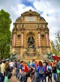 Fontaine圣米歇尔,巴黎法国 库存图片