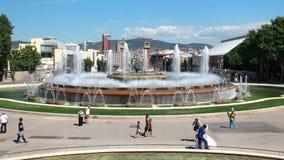 Fontaine à Barcelone, Espagne banque de vidéos