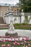 Fontaine avec le groupe de sculpture - cupidon avec un cygne sur la cour grande Photographie stock libre de droits