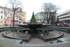 Fontaine centrale Ivano-Frankivsk Image libre de droits