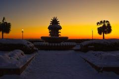 Fontaine d'ananas au parc de bord de mer, Charleston, Sc Photo libre de droits