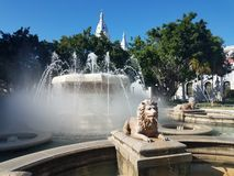 Fontaine d'eau avec le lion dans la plaza dans le maquereau, Puerto Rico photos stock