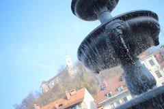 Fontaine d'eau dans Ljubijana Photographie stock libre de droits
