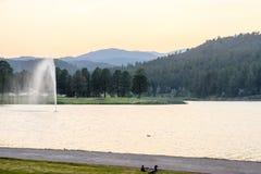 Fontaine d'eau en parc de Ruidoso Images libres de droits