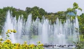 Fontaine dans l'étang dans le jardin, Bangkok photo libre de droits