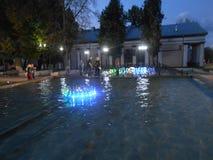 Fontaine dans la ville sur la rue le soir image libre de droits