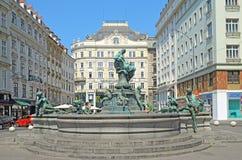 Fontaine de Donnerbrunnen à Vienne, Autriche Images libres de droits