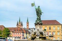 Fontaine de Franconia à la résidence de Wurtzbourg en Allemagne photo stock