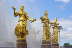 Fontaine de l'amitié des peuples au centre d'exposition à Moscou Image libre de droits