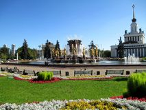 Fontaine de l'amitié des peuples sur VDNH dans Mosco Photo stock