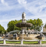 The Fontaine de la Rotonde fountain with roundabout in Aix-en-Pr. Ovence, France royalty free stock photo
