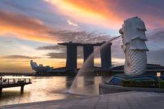Fontaine de Merlion à Singapour Photographie stock libre de droits