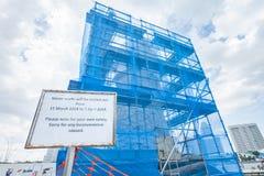 Fontaine de Merlion de nettoyage, SINGAPOUR Photographie stock libre de droits