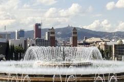 Fontainede Montjuïc de gica de Mà à Barcelone Images libres de droits