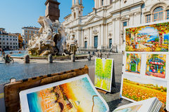 Fontaine de Neptune dans Piazza Navona, Rome Image libre de droits
