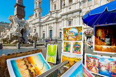 Fontaine de Neptune dans Piazza Navona, Rome Images libres de droits