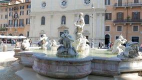 Fontaine de Neptune Piazza Navona, Rome, Italie - banque de vidéos