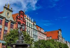 Fontaine de Neptune, vieille ville à Danzig, Pologne Photo stock