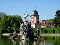 Fontaine de Pegasus avec la maison de l'eau image libre de droits