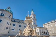 Fontaine de Residenzbrunnen à Salzbourg, Autriche Images libres de droits