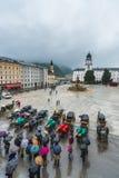 Fontaine de Residenzbrunnen sur Residenzplatz à Salzbourg, Autriche Photographie stock libre de droits