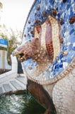 Fontaine de serpent chez Parc Guell, Barcelone, Espagne, septembre 2016 Image libre de droits