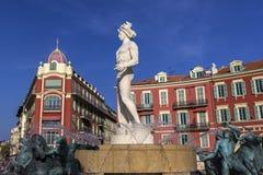Fontaine de Soleil, Platz Massena in Nizza Stockbilder