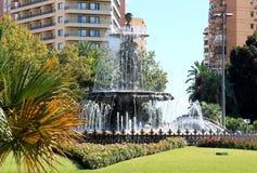 Fontaine de trois nymphes à Malaga, Espagne Images libres de droits