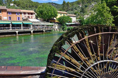 Fontaine de Vaucluse. Beautiful Medieval Village Fontaine de Vaucluse on the river shore, Provence, France royalty free stock image