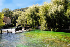 Fontaine de Vaucluse. Sorge river in Fontaine de Vaucluse in Provence, France royalty free stock photography