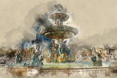 Fontaine des Fleuves - η όμορφη πηγή στην πόλη του Παρισιού Στοκ Φωτογραφίες