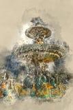 Fontaine des Fleuves -美丽的喷泉在市巴黎 免版税库存照片
