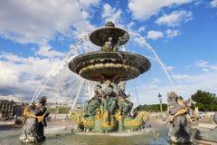 Fontaine des Fleuves on Place de la Concorde in Paris Stock Image