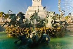 Fontaine des Girondins,红葡萄酒,法国 免版税库存图片