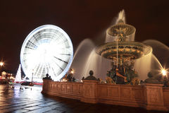 Fontaine des Mers, Christmas tree and Ferris wheel Royalty Free Stock Photo