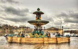 Fontaine des Mers on the Place de la Concorde Stock Photography
