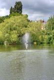 Fontaine devant des arbres Photo stock