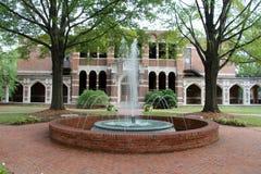 Fontaine devant le vieux bâtiment Photographie stock libre de droits