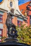 Fontaine du Neptune dans la vieille ville de Danzig, Pologne Images libres de droits