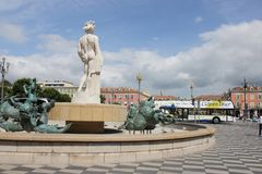 Sun fountain at, Place Massena in french city of Nice Royalty Free Stock Photo