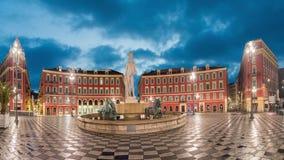 Fontaine du Soleil en el cuadrado en Niza, Francia de Massena del lugar almacen de metraje de vídeo