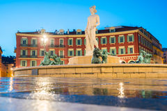 The Fontaine du Soleil on Place Massena in the Morning, Nice, Fr Royalty Free Stock Images
