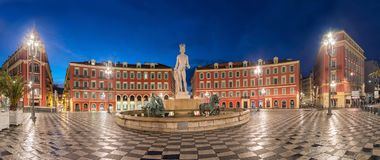 Fontaine du Soleil on Place Massena square in Nice, France. Fontaine du Soleil on Place Massena square at dusk in Nice, Alpes-Maritimes, France stock photo