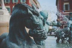 Fontaine du Soleil Springbrunn av solen - Nice, Frankrike arkivfoton