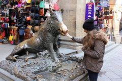 Fontaine en bronze de porc à Florence photographie stock libre de droits