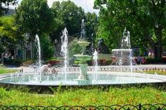Fontaine en parc de ville d'été, jour ensoleillé lumineux, arbres avec des ombres et herbe verte Images libres de droits