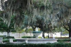 Fontaine entourée par les chênes et la mousse espagnole dans la savane, la Géorgie Photos stock