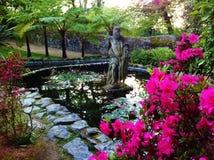 Fontaine et statue Photo stock