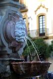 Fontaine par la cathédrale de Séville Image libre de droits